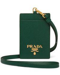 Prada Leather Badge Holder - Green
