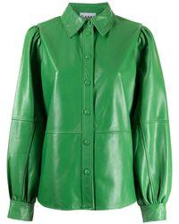 Ganni Camicia con maniche a palloncino - Verde