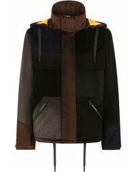 Dolce & Gabbana パッチワーク フーデッドコート - ブラック