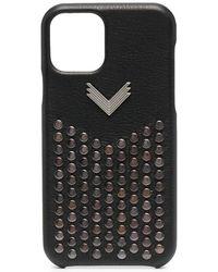 Manokhi スタッズ レザー Iphone 11 Pro ケース - ブラック