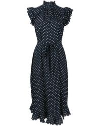 Zimmermann Scalloped Silk Midi Dress - Blue