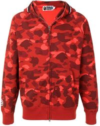 A Bathing Ape Shark Camo Zip-up Hoodie - Red