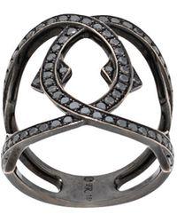 Loree Rodkin ダイヤモンド インターリンクリング 18kホワイトゴールド - ブラック