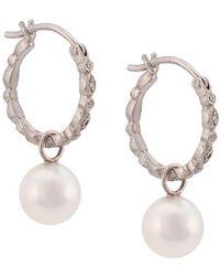Cathy Waterman Pearl seed hoop earrings - Blanc