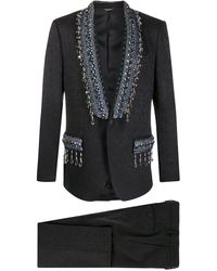 Dolce & Gabbana Floral Jacquard Martini Suit With Appliqué - Black