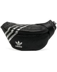 adidas ストライプ ベルトバッグ - ブラック