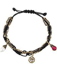 Alexander McQueen Bracelet à design en corde et chaîne - Noir