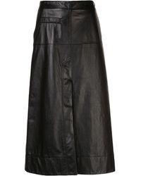 3.1 Phillip Lim ハイウエスト レザースカート - ブラック