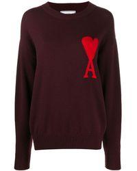 AMI Woman De Coeur インターシャセーター - レッド