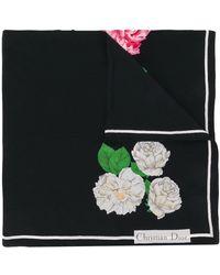 Dior 1990's Pre-owned Hydrangea Printed Silk Scarf - Black