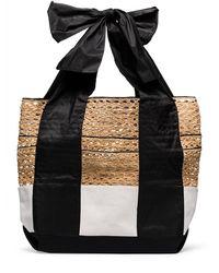 Rosie Assoulin Large Contrast Canvas Basket Tote - Black