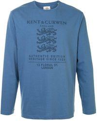 Kent & Curwen Футболка С Длинными Рукавами И Логотипом - Синий