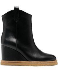 Ba&sh Cristina Wedge Ankle Boots - Black