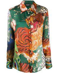 DSquared² Tiger-print Shirt - Green
