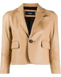 DSquared² Cropped Leather Blazer - Multicolour