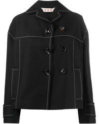 Marni Button-detail Pea Jacket - Black