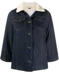 Societe Anonyme Cropped Faux Shearling Jacket - Blue