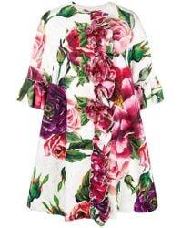 Dolce & Gabbana - Peony Print Overcoat - Lyst