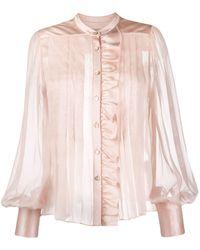 Temperley London Pleated Sheer Blouse - Pink