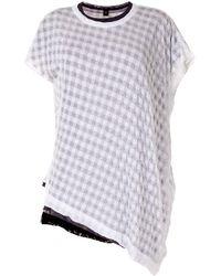 Y's Yohji Yamamoto Gingham Asymmetric T-shirt - White