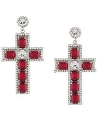Philipp Plein Pendientes con cruz y motivo barroco - Multicolor