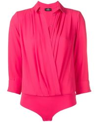Elisabetta Franchi - Plunging Neck Draped Shirt - Lyst