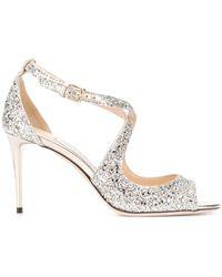 Jimmy Choo Emily Glittered Sandals - Metallic