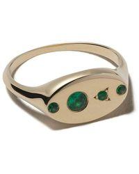 Wwake 14kt Gold Emerald Signet Ring - Metallic