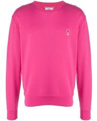 AMI Свитер С Круглым Вырезом И Нашивкой-логотипом - Розовый