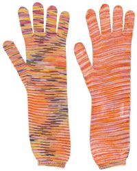 Missoni Intarsia Knit Gloves - Orange