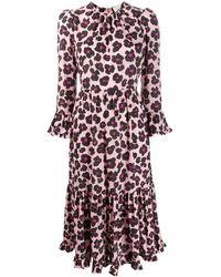 La DoubleJ Платье Visconti С Цветочным И Леопардовым Принтом - Розовый