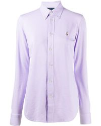 Polo Ralph Lauren Embroidered Logo Oxford Shirt - Purple