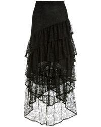 Alice + Olivia ティアード メッシュスカート - ブラック