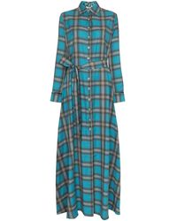 Evi Grintela Valerie Check Maxi Dress - Blue