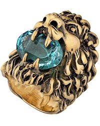 Gucci Ring mit Löwenkopf - Mettallic