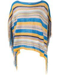 M Missoni Fringe-detail Striped Poncho - Blue