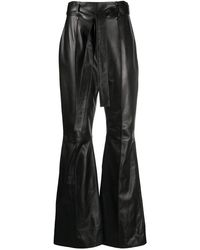16Arlington レザー フレアパンツ - ブラック