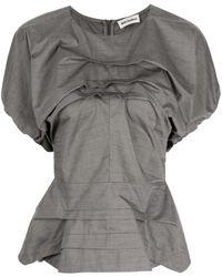 Molly Goddard Short Puff Sleeves Blouse - Grey