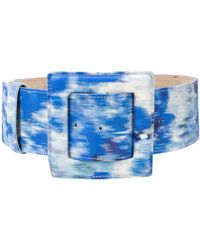 Carolina Herrera Tie-dye Square Buckle Belt - Blue