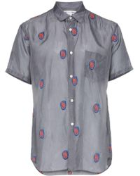 Comme des Garçons Embroidered-face Silky Twill Short-sleeve Shirt - Grey