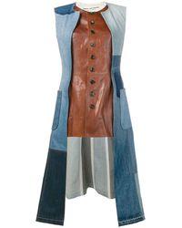 Junya Watanabe Leather And Denim Jacket - Brown