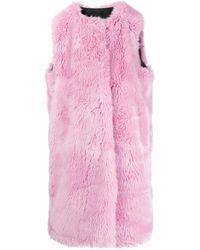 MSGM Faux Fur Long Gilet - Pink