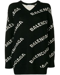 Balenciaga V-neck Logo Jumper - Black