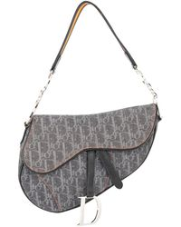 Dior Pre-owned Trotter Saddle Handbag - Grey