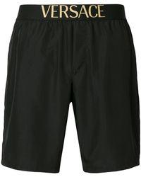 Versace Logo Band Swim Shorts - Black