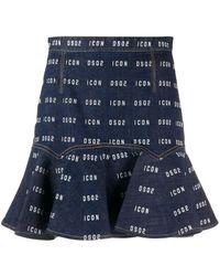 DSquared² Logo Ruffled Skirt - Blue