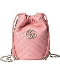 Gucci GG Marmont Mini Bucket Bag - Pink