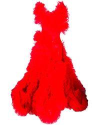 Loulou ラッフルチュール ドレス - レッド