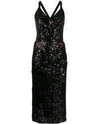 Dolce & Gabbana スパンコール Vネックドレス - ブラック