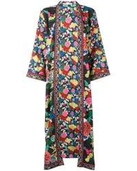 Alice + Olivia - Long-sleeve Floral Draped Coat - Lyst